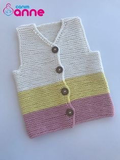 Disposable Face Mask with Earloop, Breathable and Comfortable for Personal Care Protection Masks) Baby Cardigan Knitting Pattern, Knit Vest, Baby Knitting Patterns, Hand Knitting, Moda Emo, Baby Vest, Girls Sweaters, Kids Wear, Sewing Tutorials