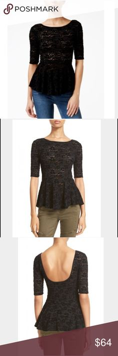 """Free People black lace peplum top-NWT-size small. Free People black lace peplum top-NWT- size small. Scoop neck. Open back. Elbow-length sleeves. Peplum waist. Unlined. Approx 26"""" length (website). 50% rayon, 40% nylon, 10% spandex. Hand wash. Photo of actual top to be posted tomorrow. Free People Tops"""