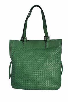 AJM Fashions  Bottega Giotti Green Nappa Leather Woven Large Tote Handbag  Leather Workshop 047c016ba6cfa