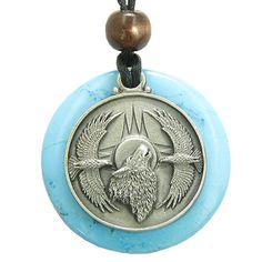 Amulet Howling Wolf Eagles Magic Medallion Circle Simulated Turquoise Pendant Necklace