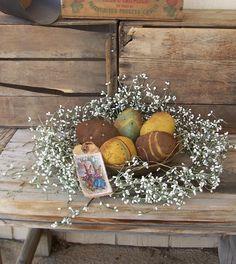 Primitive Grungy Painted Easter Egg Bowl by VintageKeepsakeTrunk, $25.00