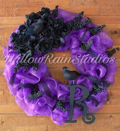 Best 12 Goth Chic Halloween Wreath in purple and black. Beautiful purple polymesh decorated with Ravens, spiders, bats, black lace and roses for a high contrast and bold look. Custom made with your…@ artfire Diy Halloween Spider, Dollar Tree Halloween, Halloween Mantel, Chic Halloween, Modern Halloween, Purple Halloween, Homemade Halloween, Halloween Crafts, Halloween Decorations