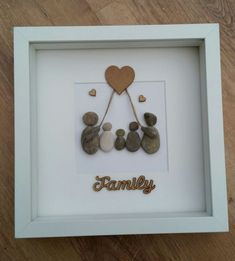 Beautiful box frame pebble art picture Family of 5 - with love heart All the peb...
