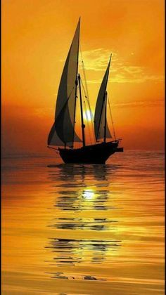Wallpaper of boat & yacht sailing at ocean and sea Pictures To Paint, Nature Pictures, Landscape Paintings, Watercolor Paintings, Oil Painting Flowers, Boat Art, Ocean Sunset, Hawaiian Sunset, Beach Sunrise
