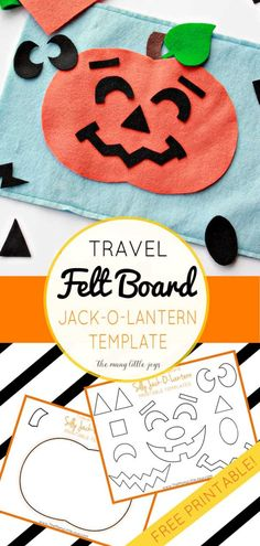 "Travel felt boards are a great activity for kids stuck on a plane or waiting in a restaurant. This fun ""Silly Jack-o-lantern Felt Play Set"" is a Halloween addition to the felt board sets I've shared in the past."