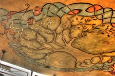 Celtic Tree of Life Mural Painting on Irish Pub Ceiling