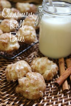 Cinnamon Roll Bites   ~   All the tasty goodness of a cinnamon roll, wrapped up into one cute little bite. The great thing about these is they can be made overnight too.