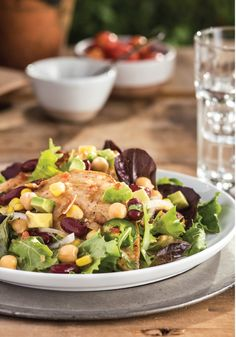 Butterflied Chicken, Beans & Corn Salad – Don't let the word butterflied throw you. Using thin-sliced chicken breasts is the reason this bistro-style salad is so quick to make. Plus, with the bean and corn mixture on top, it makes this dish super delicious! For more Labor Day recipes: https://kraft.promo.eprize.com/summer/hub?occasion=labor_day