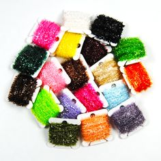 16Cards 10m/card Fly Fishing Tinsel Chenille Flies Material for Streamer Lures Crystal Flash Line Green Yellow Black Gold Pink