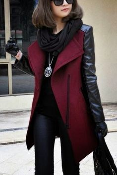Burgundy leather coat for luxury business look