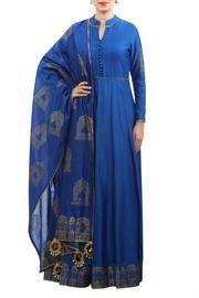 Blue chanderi block & screen print anarkali with dupatta Patiala Dress, Indian Salwar Kameez, Salwar Kameez Online, Anarkali Suits, Indian Designer Suits, Elegant Outfit, Indian Dresses, Indian Fashion, Fashion Design
