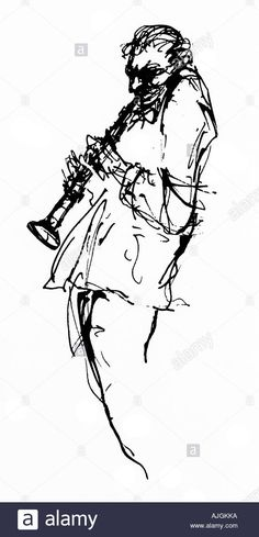 Southern Jazz - Diggin, Line drawing of a New Orleans musician blowing his clarinet Stock Photo