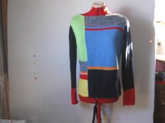 Vintage Block Color Patchwork Sweater by Crazy Horse Size Small  ‪#‎craftshout0206‬