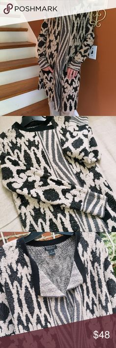 """LUCKY BRAND Cardigan, Size Small LUCKY BRAND Cardigan, Size Small Black, gray and beige swirly pattern.  60/34/6 = cotton/acrylic/poly.  Measurements are:  16"""" chest and 32"""" long.  Sleeves are 18"""" measured from underarm.  WORN ONCE. Lucky Brand Sweaters Cardigans"""