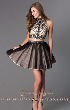 Black Nude Dave and Johnny 2179 Two Piece Homecoming Dress