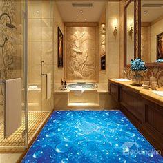 Blue Simple Style Water Drops Pattern Home Decorative Waterproof 3D Floor Murals