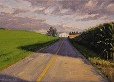 "Daily Paintworks - ""Long Corn Shadows"" - Original Fine Art for Sale - © Ski Holm"