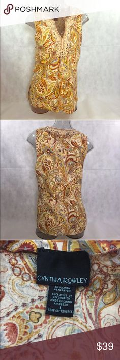 Cynthia Rowley embroidered Linen Rayon Blouse 👚 Excellent used condition!!!! Super boho chic sleeveless Blouse Linen Rayon Blend Size L. B5 Cynthia Rowley top embroidered Linen Rayon Paisley Cynthia Rowley Tops