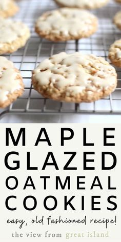 Maple Glazed Oatmeal Cookies ~ this classic chewy oatmeal cookie dipped in a rich maple glaze is deceptively simple and divinely delicious. Oatmeal Cookie Recipes, Simple Oatmeal Cookies, Simple Cookie Recipes, Chewy Oatmeal Cookies, Cookie Flavors, Maple Cookies, Sugar Cookies, Snack Recipes, Cooking Recipes
