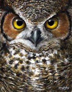 Great Horned Owl Painting (c) Kestrel Creative                                                                                                                                                                                 More