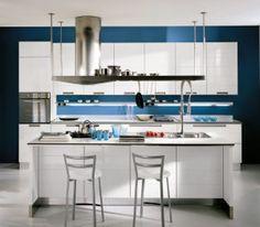 Blue Kitchen Walls | ... kitchen blue wall 300x263 Modern Italian kitchen with blue wall