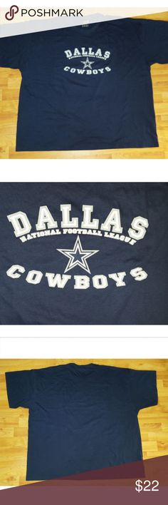 """Dallas Cowboys NFL Mens Blue Logo Front T-shirt Dallas Cowboys Football Short Sleeve T-Shirt Blue SZ 4XL  Size 4XL Good used condition, some signs of wear on logo. The white part does not extend fully to some of the gray logo, only noticeable up close. Blue with white and gray logo Chest: 61"""" Sleeve: 22"""" Length: 30 1/4"""" Imported Ships from Smoke-Free Home  Thanks for stopping by! Hanes Shirts Tees - Short Sleeve"""