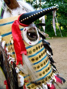 NATIVE AMERICAN HORSE MASK: Angela Swedberg: Horse Gear.  Modern rendition of 1800s Blackfoot mask