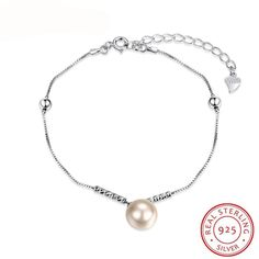 100% Real 925 Sterling Silver Jewelry Women Bracelet Romantic Style Simulated Pearl Fine Silver Chain