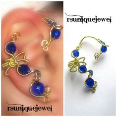 Wire Wrapped Blue Beads Ear Cuff Right Earcuff by rsuniquejewel
