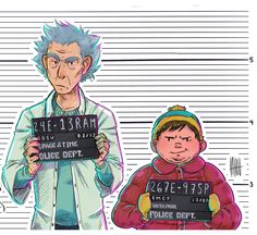This is the greatest f*cking thing I've ever seen. | Rick and Morty / South Park | Rick and Cartman mugshot.