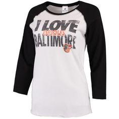 Women's Baltimore Orioles Soft As A Grape White/Black I Love Baseball Three-Quarter Sleeve T-Shirt