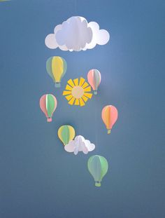 Baby Mobile Hot Air Balloons and Clouds Hanging by goshandgolly