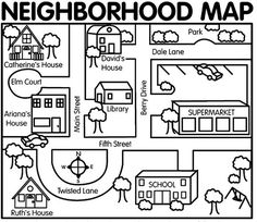 This neighborhood map can be used for teaching map skills to primary age children through relative terms using their own environment. This map can be adapted to teach certain map skills, terms of location, and spatial relationships. (direction too) Teaching Map Skills, Teaching Maps, Teaching Resources, Teaching Geography, Listening Skills, Reading Skills, Kindergarten Social Studies, Social Studies Activities, Teaching Social Studies