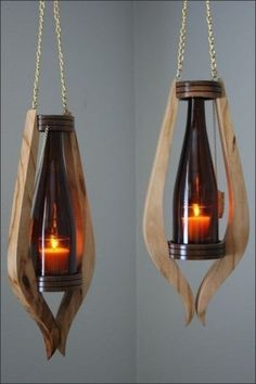 Wooden lamps design - Smart DIY Wine Bottle Lamp Design Ideas You Must Try Garrafa Diy, Bathroom Wood Shelves, Wood Shelf, Wall Wood, Rustic Shelves, Into The Woods, Creation Deco, Diy Bottle, Glass Bottle