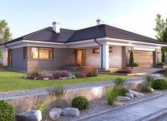 Nela V - zdjęcie 2 Bungalow Haus Design, Modern Bungalow House, Bungalow House Plans, Bedroom House Plans, House Outside Design, Small House Design, Village House Design, Village Houses, Architectural Design House Plans