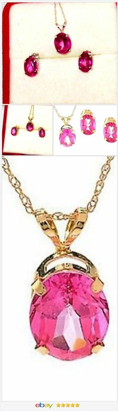 """#MOM #ebay 60% OFF #EBAY http://stores.ebay.com/JEWELRY-AND-GIFTS-BY-ALICE-AND-ANN  Pink Topaz 14 K Yellow Gold Stud Earrings & Pendant 18"""" Rope Chain USA Seller"""