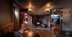 Restaurant fireplace at the Crown & Thistle, Abingdon