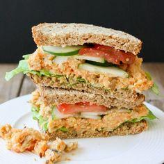 Low Fat Creamy Mashed Chickpea Sandwich- Veggies Don't Bite