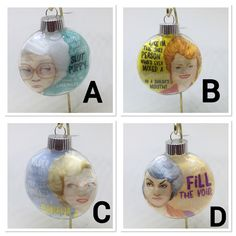 These are golden girl ornaments. These are a must have for this holiday season. These ornaments are plastic. Nurse Badge, Eastern Star, Delta Sigma Theta, Sorority Gifts, Id Holder, Golden Girls, Nurse Gifts, Friends In Love, Christmas Bulbs