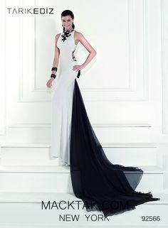 Tarik Ediz 92566 Posola Black White Dress