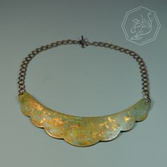 Brass necklace with patina and gold leaf. #handmade #jewelry #lightbydemunt #fashion #accessory