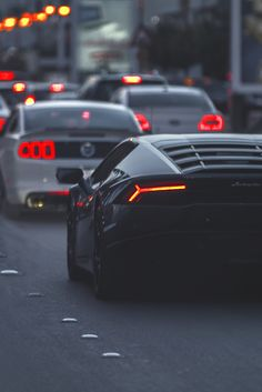 "luxeware: "" Ford Mustang followed by a Lamborghini Huracan """