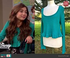 Riley's green ruffled crop top on Girl Meets World.  Outfit Details: http://wornontv.net/40986/ #GirlMeetsWorld