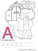 These are great alphabet writing printables for your kids (just no lowercase practice).  I use these with Ainsleigh and we cover the Bible story mentioned as well.