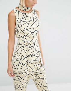 Image 3 of Lavish Alice Abstract Print Collar Tie Belt Top