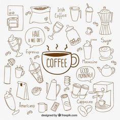 Free vector Hand drawn coffee elements #8135