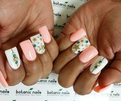 White, pink, turquoise, gold, several colors, rhinestones, accent nails, short nails