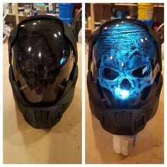 helmet design modern this is awesome with skull showing when helmet exposed to light. sebuah desain helm keren modern dan out of the box dimana jika terkena cahaya terlihat tengkorak di dalam nya.