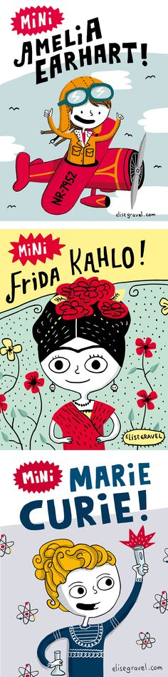 Elise Gravel Illustration: Girls who kick butts! A series of strong female characters drawn as children. Marie Curie, Women In History, Art History, Photography Illustration, Illustration Art, Character Drawing, Character Design, Frida Kahlo Cartoon, Strong Female Characters