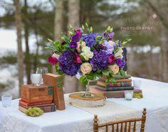 www.flairfloral.com Plymouth, MA Wedding Florist Purple wedding centerpiece Photo Credit www.ladybugfoto.com Plymouth, MA wedding photographers #southshorewedding #southshoreweddingphotographer #wedding #stylized #romantic #rustic plymouth ma, Plymouth MA
